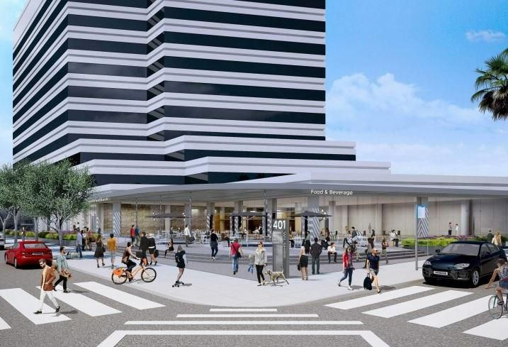 Rendering of Douglas Emmett's mixed-use office and retail building at 401 Wilshire Blvd. in Santa Monica