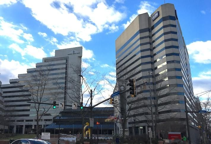 The Clark Building (right) at 7500 Old Georgetown Road in Downtown Bethesda