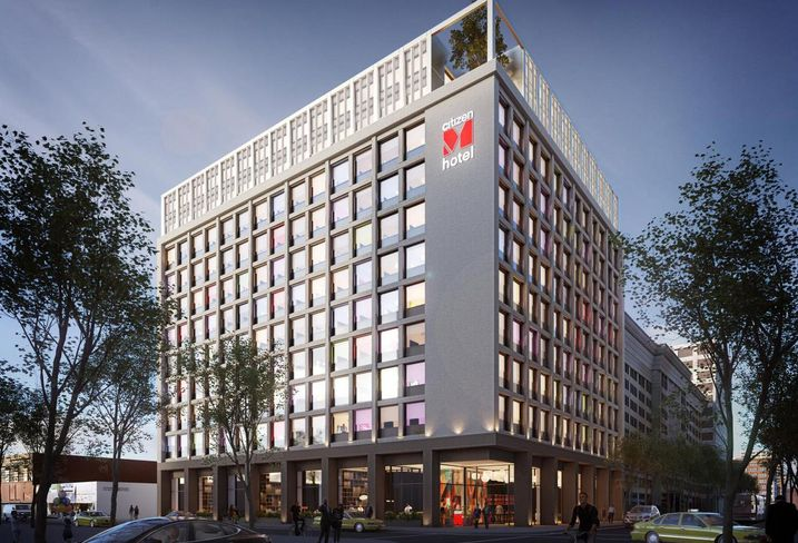 Rendering of BLVD Hospitality and citizenM's modular hotel 11-story, 315-room hotel in downtown Los Angeles