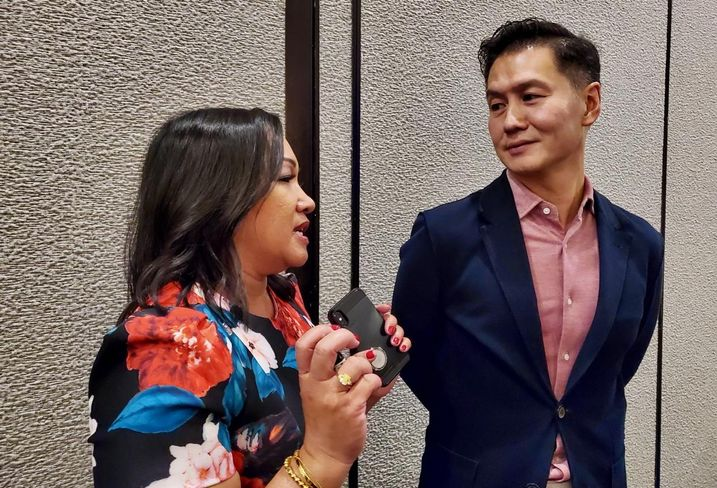 Alexian Advisors Managing Principal Jennifer Taylor talks to Gaw Capital Founder and Chairman Goodwin Gaw after a Filipinos In Institutional Real Estate event Sept. 13, 2019 in Dana Point