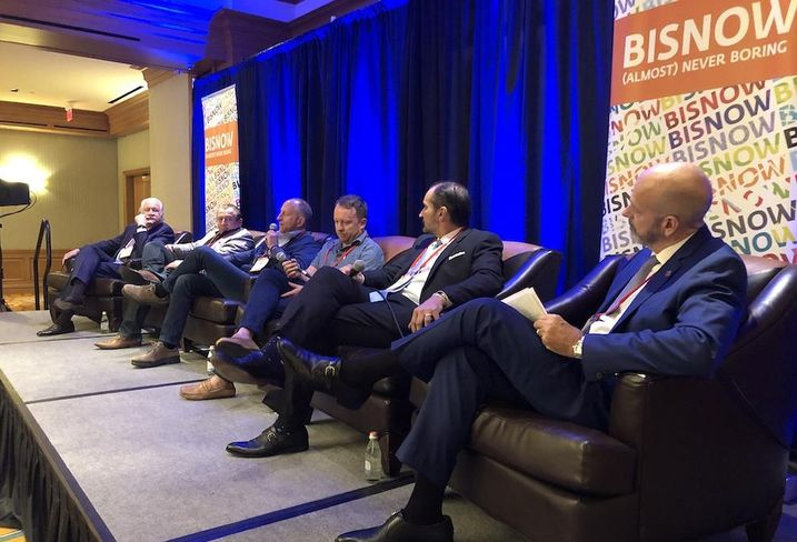 Levcor President Larry Levine, Berg Hospitality Group Founder Benjamin Berg, Pinstripes founder and CEO Dale Schwartz, Politan Group CEO and founder Will Donaldson, Transwestern Managing Director Nick Hernandez and International Bank of Commerce President Jeff Samples at Bisnow's Destination Making in Houston event.