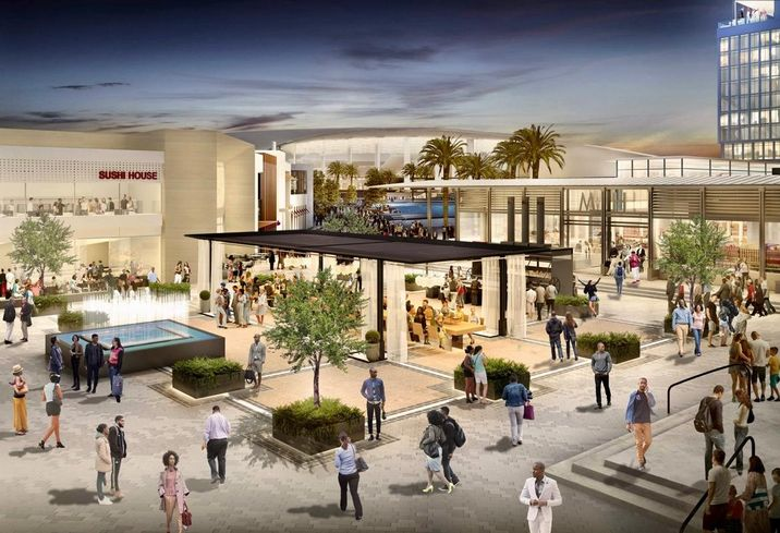Rendering of the retail component of Hollywood Park in Inglewood