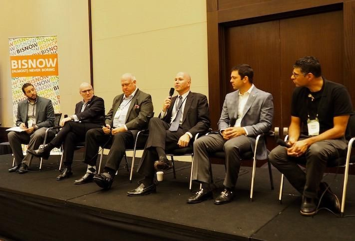 Bisnow's Ethan Rothstein, Fox Architects' JP Spickler, Boland's Dave Pirkey, Lantian's Bob Elliott, Federal Realty's James Milam and EYA's Aakash Thakkar