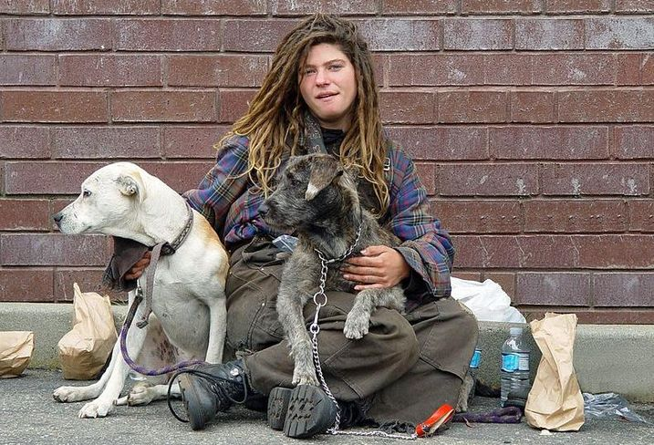 A woman and her two dogs living on the streets of San Francisco.