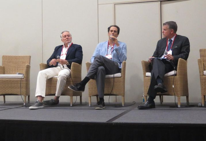 KAR Properties principal Shah Karmely, Key International co-President Inigo Ardid and Weiss Serota Helfman Cole & Bierman member Joseph Hernandez speak at a Bisnow event Sept. 25, 2019