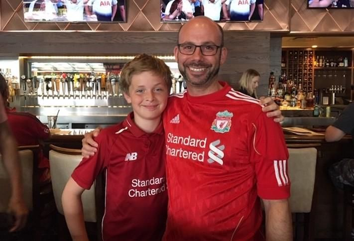 GlenLine Investment's Scott Nudelman and his son Ryan celebrating Liverpool's Champions League victory in June