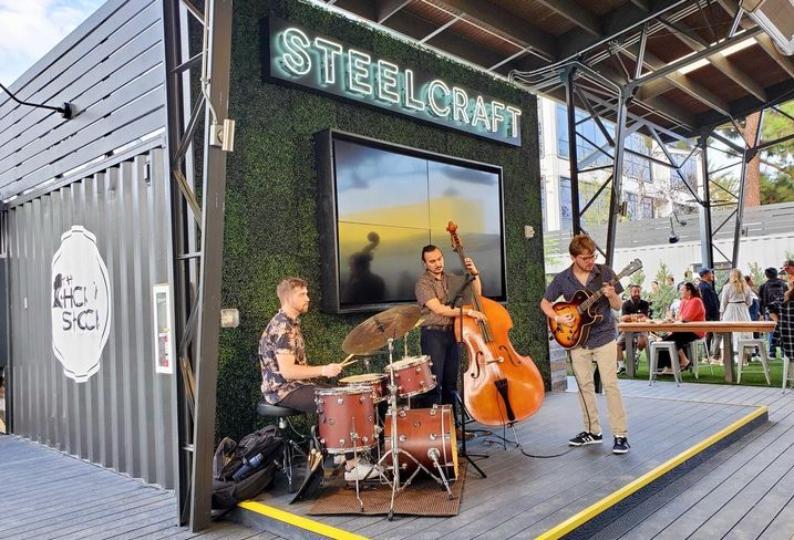 A band plays on a stage at SteelCraft Garden Grove in Orange County