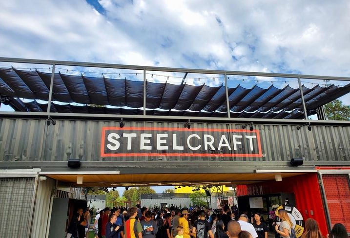 A band plays on a stage during the soft opening of SteelCraft Garden Grove in Orange County