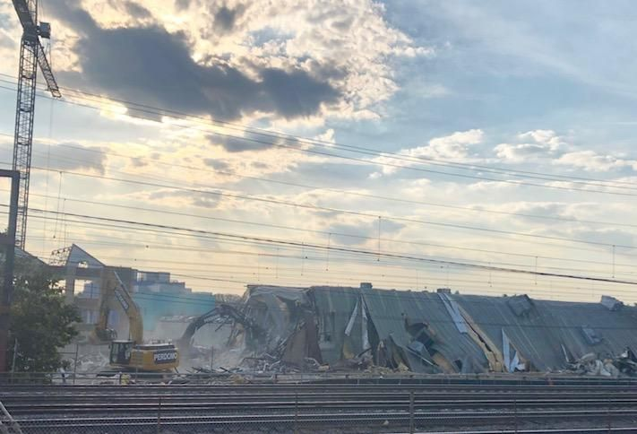 Demolition underway at the Armature Works site, as seen from the NoMa Metro station