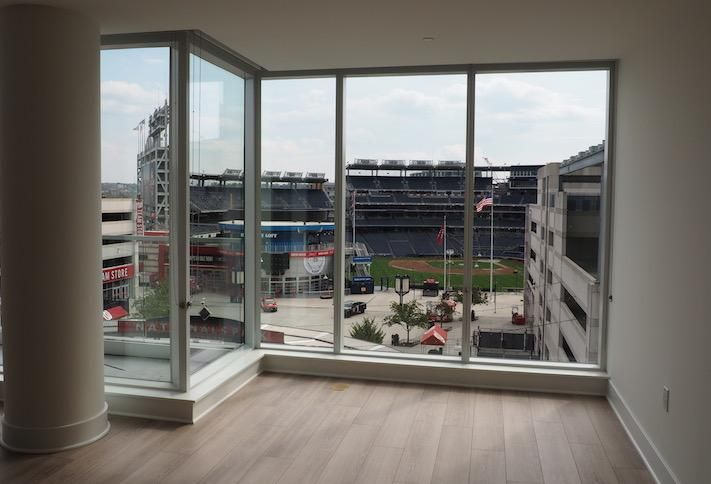 The view into Nationals Park from a sixth floor unit in the West Half building