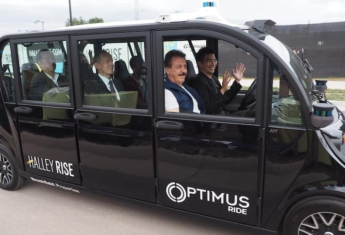 The Optimus Ride demonstration during the Halley Rise groundbreaking