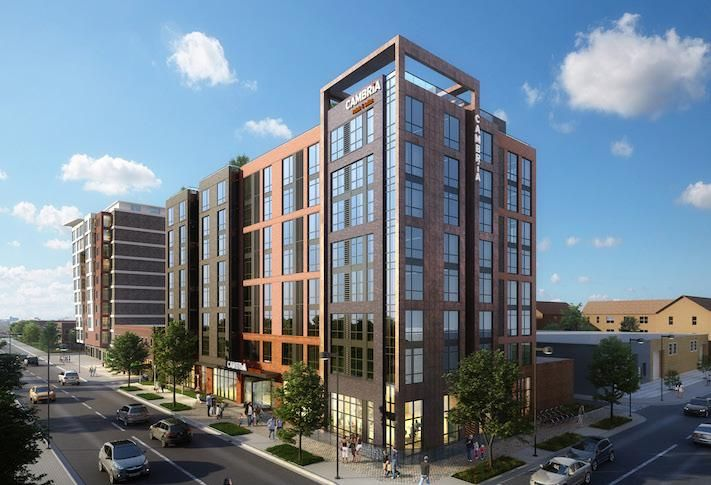 A rendering of Donohoe's Cambria Hotel Washington D.C. Capitol Riverfront at 69 Q St. SW