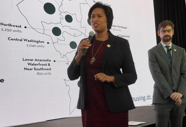 Mayor Muriel Bowser and Planning Director Andrew Trueblood presenting D.C.'s new housing plans