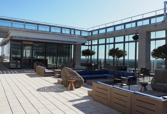 The rooftop amenity space on top of the 20-story Boro Tower
