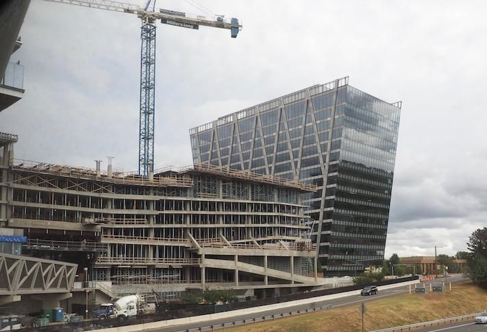 The new buildings under construction at Reston Station, photographed Oct. 7