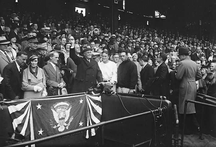 President Franklin D. Roosevelt at D.C.'s Griffith Stadium during the 1933 World Series