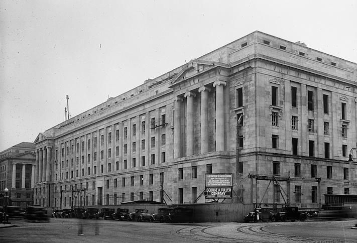 A 1933 picture of construction underway on the Department of Justice headquarters, part of the Federal Triangle complex