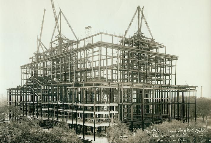 A 1933 photo of the National Archives building under construction