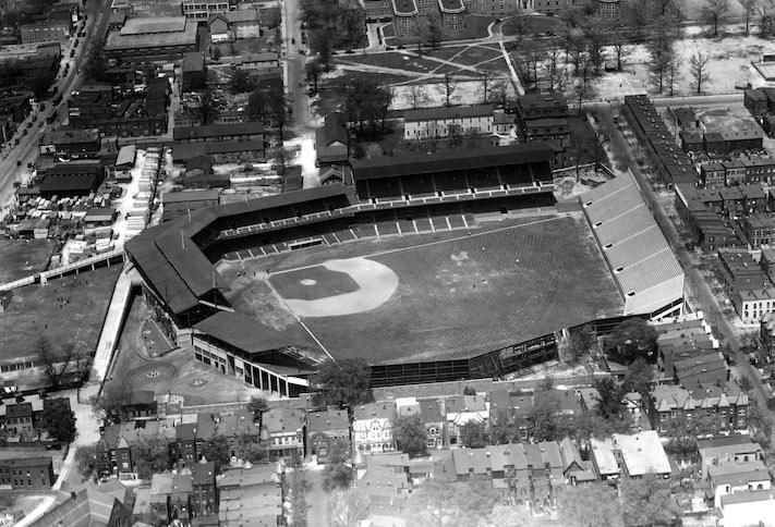 A 1925 aerial photo of the neighborhood around Griffith Stadium in Northwest D.C.