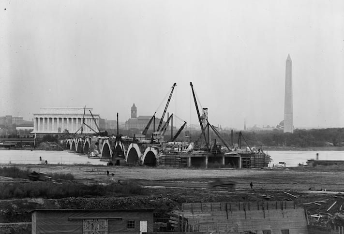 A photo of the Arlington Memorial Bridge under construction, a project that lasted from 1925 to 1932
