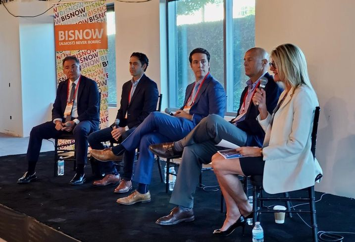 Adept's Patrick Chraghchian, Cypress Equity Investments' Adrian Berger, LaTerra Development's Chris Tourtellotte, Overton Moore Properties' Timur Tecimer and CBRE's Natalie Bazarevitsch discuss the state of Los Angeles' Valley neighborhood on a panel at Bisnow's State of the Valley and Tri-Cities event at New York Life's 2300 West Empire Avenue building in Burbank