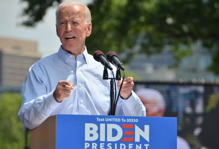 Joe Biden campaigning for president in May 2019