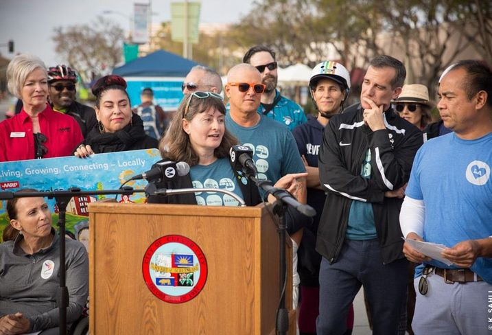 Culver City Mayor Meghan Sahli-Wells speaks at a press conference during a CicLAvia event.
