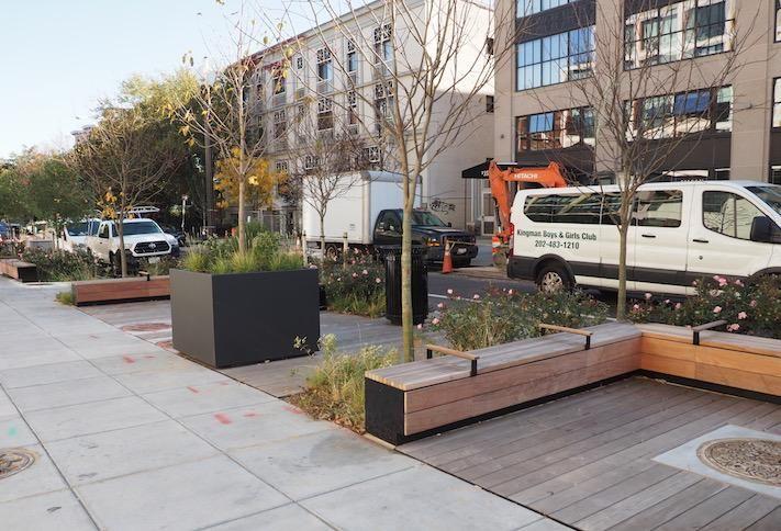 The parklet on the R Street sidewalk next to the Liz development