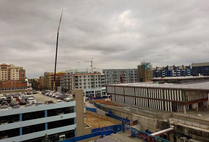 Construction crane in downtown Long Beach