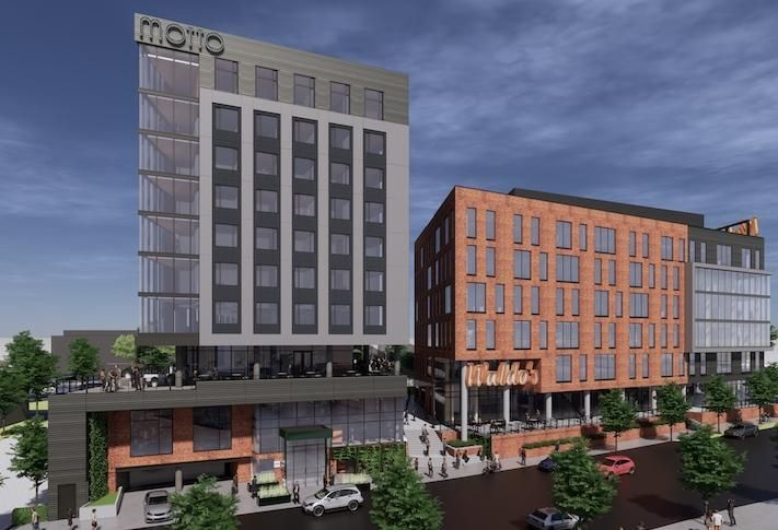 A rendering of the Motto by Hilton micro-hotel planned in Atlanta's Old Fourth Ward neighborhood