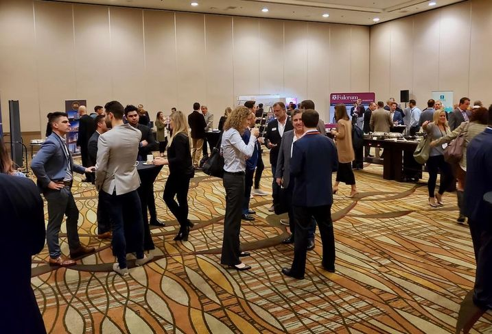 Attendees network at Bisnow's Orange County Multifamily Summit Nov. 21 at the Hilton Anaheim