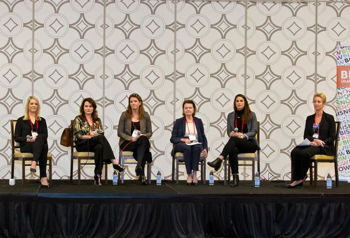 Newmark Knight Frank's Laura Stumm, Cypress Equity Investments' Alla Sorochinsky, MAK Center for Art and Architecture's Priscilla Fraser, HR&A Advisors' Martha Welborne, BLVD Hospitality's Margaux Rotter and Allen Matkins' Emily Murray at Bisnow's Los Angeles Power Women event Dec. 12 at the JW Marriott LA Live in downtown Los Angeles