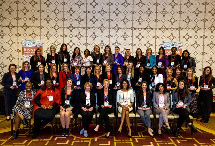 Recipients of Bisnow's Los Angeles Power Women 2019 award. The award is given to women in the commercial real estate industry.