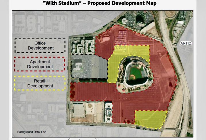 A proposed development map of Angel Stadium prepared by the city of Anaheim's appraiser