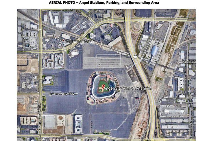 Aerial photo of Angel Stadium in Anaheim