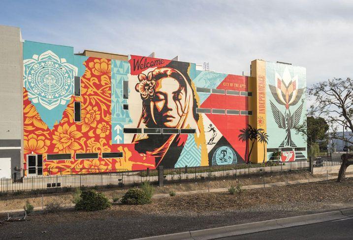 Baker Block mural in Costa Mesa