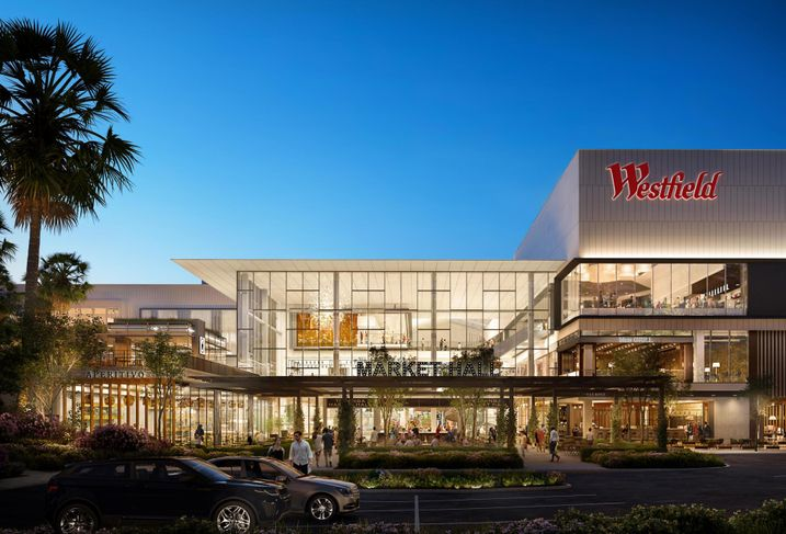 Rendering of Unibail-Rodamco-Westfield's transformation of a former Sears Dept. store in Woodland Hills
