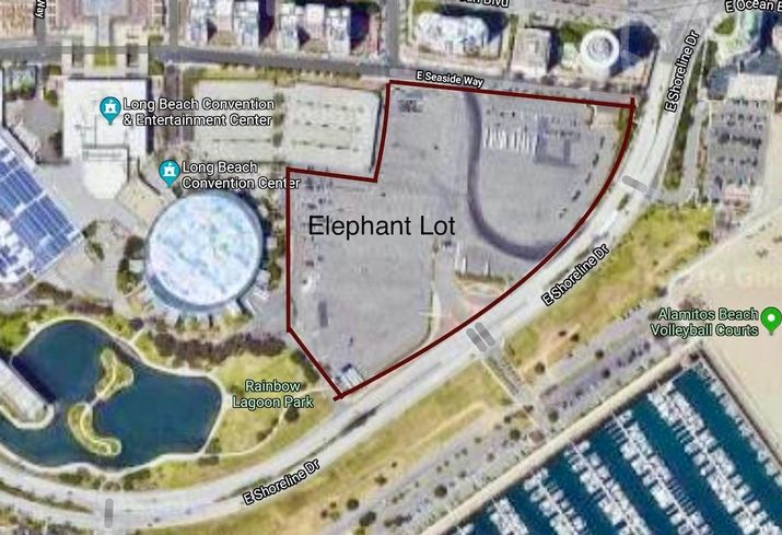 Aerial view of the Elephant Lot in Long Beach