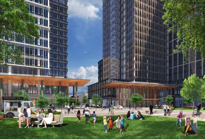 A rendering of the park next to the two planned Amazon HQ2 office buildings.