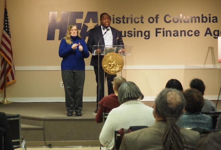 DCHFA Interim Executive Director Christopher Donald speaking at the New Year New Housing event Jan. 17.