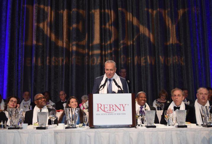 Senate Minority Leader Chuck Schumer speaks at the 124th REBNY banquet Jan. 16, 2020