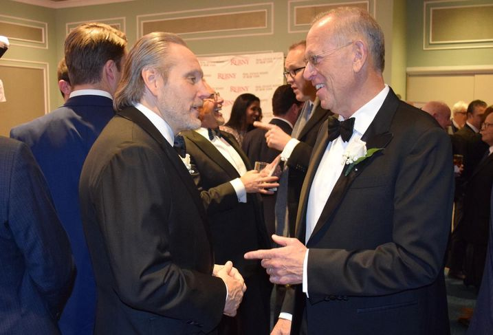 JLL Chairman of Investment Sales Bob Knakal and Douglaston Development Chairman and CEO Jeffrey Levine at the 124th REBNY banquet Jan. 16, 2020