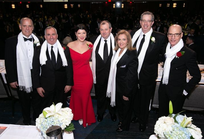 The honorees at the 124th annual REBNY banquet: L&L Holding Co.'s Henry Celestino. KRW Realty Advisors' Kevin Wang, Newmark Knight Frank's Robin Fisher; REBNY President James Whelan; JRT Realty Group's Jodi Pulice, REBNY Chairman Bill Rudin, and Vornado's David Greenbaum