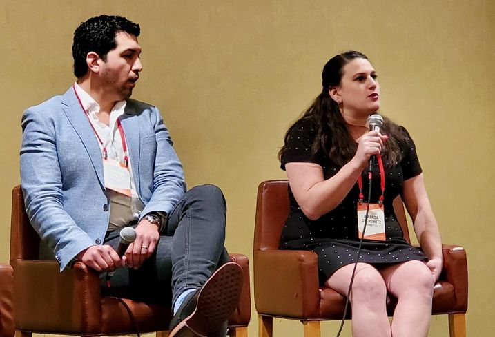 Inception REIT's Richard Acosta and CannaRegs' Amanda Ostrowitz discuss the state of the cannabis industry at Bisnow's cannabis event Jan. 23 at the LA Grand Hotel Downtown in downtown Los Angeles.