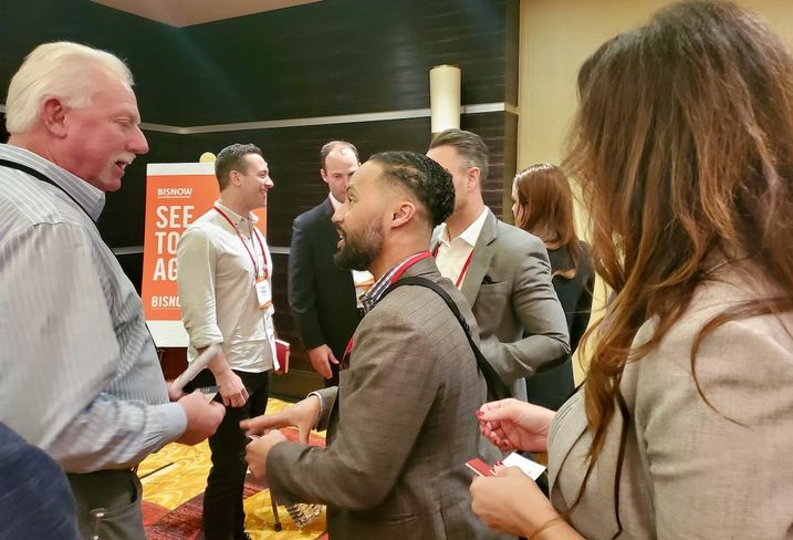 Oak Investment Funds CEO & Managing Partner Erik Murray networks with attendees after Bisnow's cannabis event in downtown Los Angeles