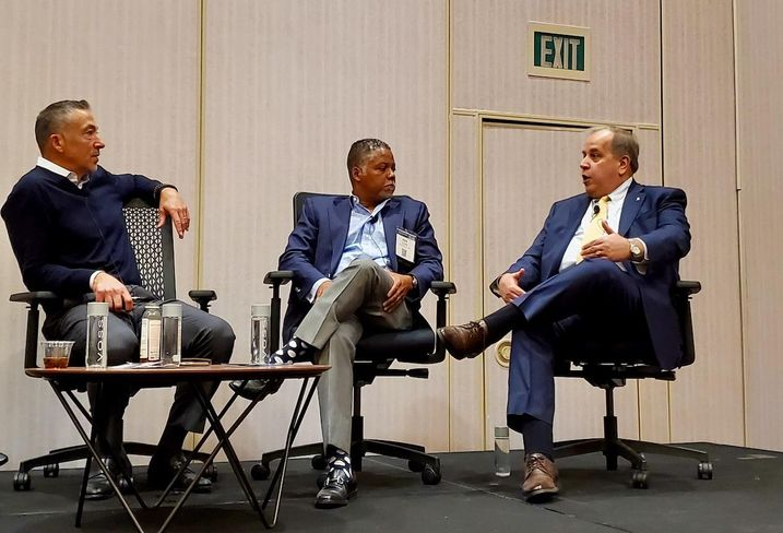 Soul Community Planet CEO Ken Cruse, Integrated Capital Managing Partner Kenneth Fearn and G6 Hospitality Vice President of Franchise Development Jeff Stephenson discuss opportunity zones at the Americas Lodging Investment Summit at the JW Marriott in downtown Los Angeles.