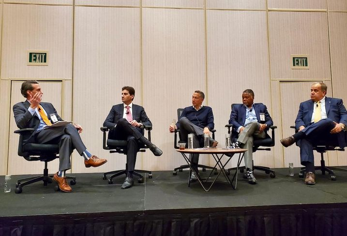 DLA Piper Partner Jeff Diener, OPZ Bernstein Chief Investment Officer Craig Bernstein, Soul Community Planet Ken Cruse, Integrated Capital Managing Partner Kenneth Fearn and G6 Hospitality Vice President of Franchise Development Jeff Stephenson discuss opportunity zones at the Americas Lodging Investment Summit at the JW Marriott in downtown Los Angeles