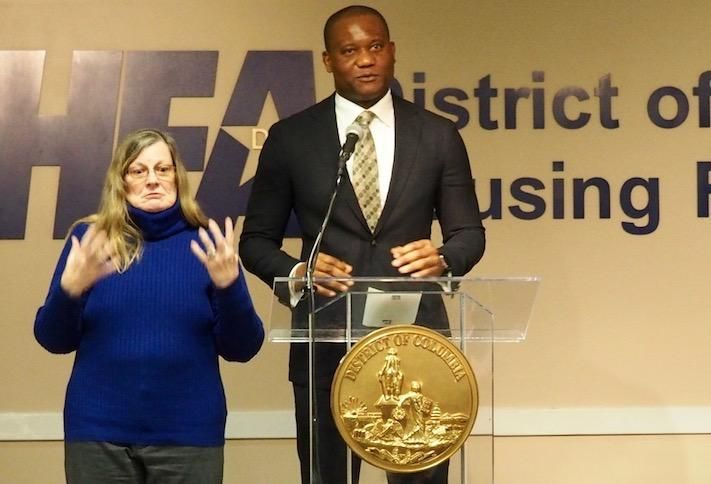 Dantes Partners founder Buwa Binitie speaking in January at a D.C. Housing Finance Agency event
