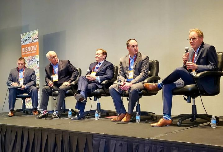 Allen Matkins' Derek Weisbender, Shea Properties' Jon Marchiorlatti, Wincome's Paul Sanford, Clark Construction's Justin Strzelecki and Carpenters/Contractors Cooperation Committee's David Kersh were panelists at Bisnow's Orange County Construction and Development event at the Irvine Marriott hotel in Irvine.