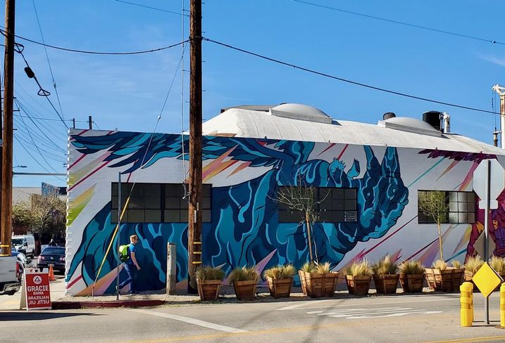 A mural on the outside of Union Cowork in the Arts District neighborhood in downtown Los Angeles